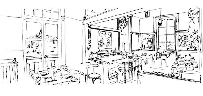 Vue intérieure du bar restaurant La Caravelle marseille